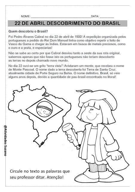 22 De Abril Descobrimento Do Brasil Atividades Adriana