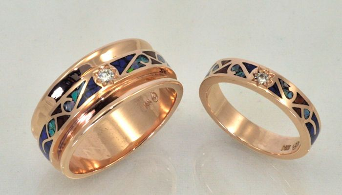 white diamonds and gemstone inlay wedding bands 14kt rose gold is a beautiful alternative to white - Matching Wedding Rings