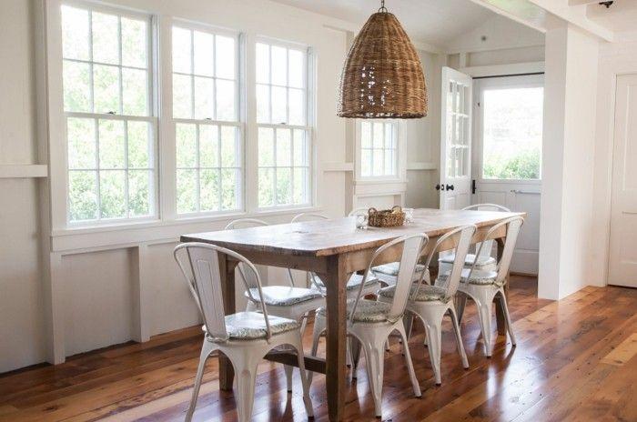 Esszimmer Einrichten Landhausstil Holzmöbel Weiße Wände