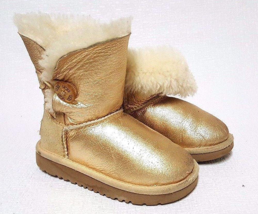 6b3e1e380fb UGG Kids Ugg Gold Bailey Button Boot Gold Metallic Toddler Size 9 ...