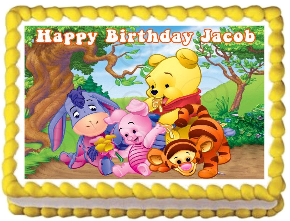 """BABY+WINNIE+THE+POOH+Edible+image+cake+topper+1/4+sheet+(10.5""""+x+8"""")"""