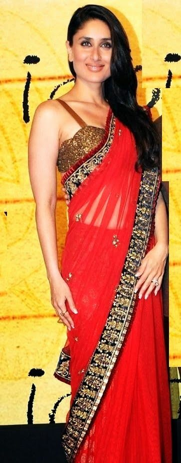 6261fd36193757 Bollywood Actress Saree Collections  Bollywood Actress kareena kapoor Looks  Hot in Red Saree with Blue Border   Award Function