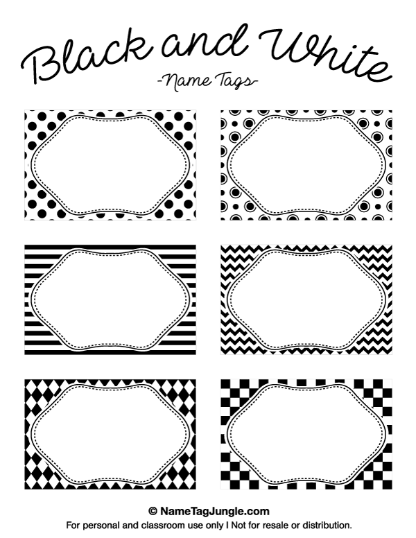 Free Printable Black And White Name Tags The Template Can Also Be Used For Creating Items Like Labels Place Cards