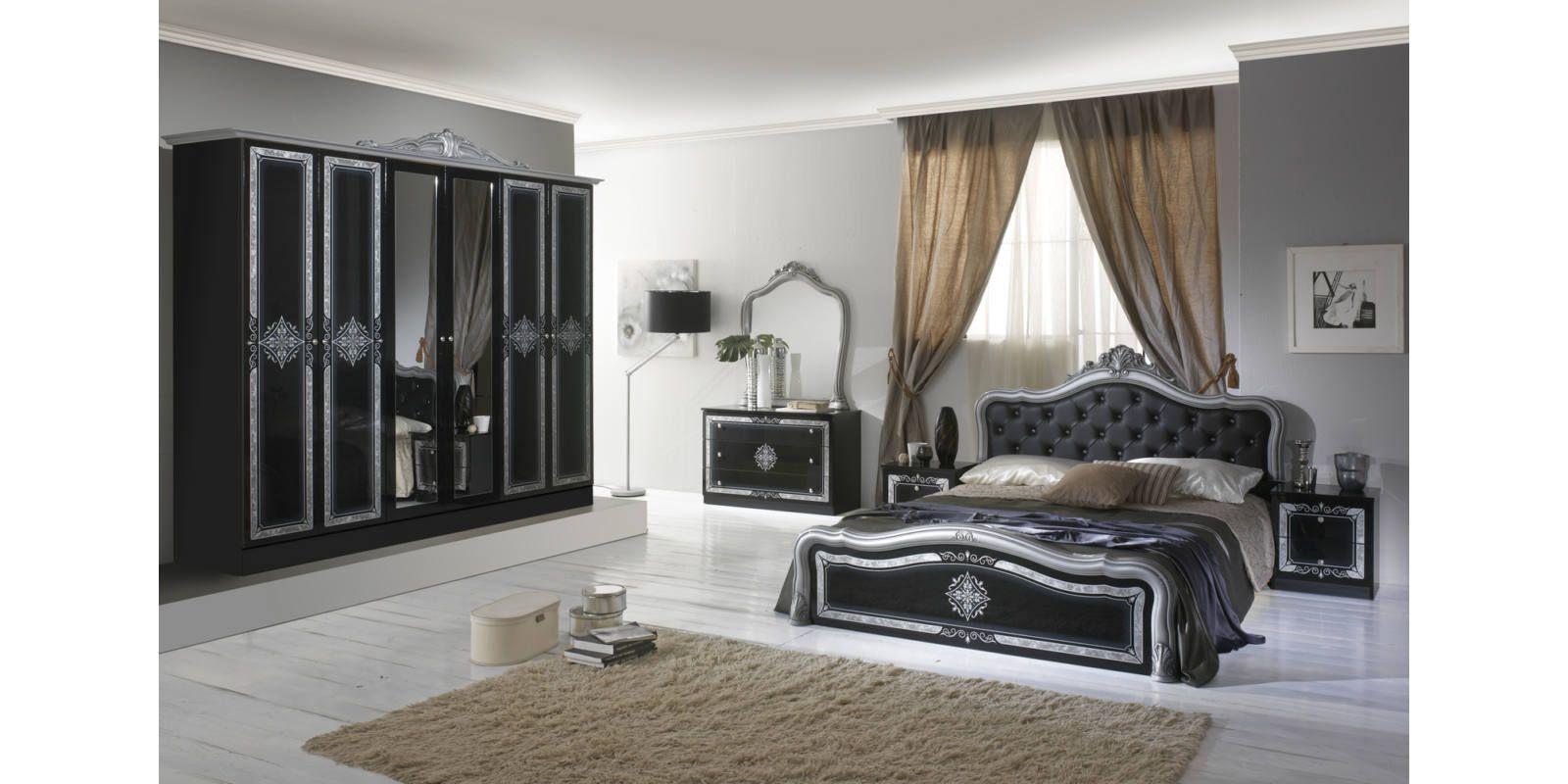 Luisa klasszikus olasz hálószoba garnitúra, feketeezüst