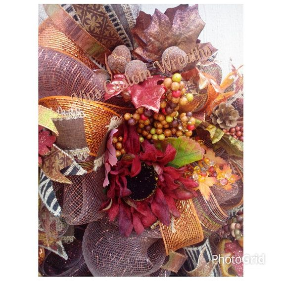 Deco Mesh Fall Wreath Fall Wreath Thanksgiving Wreath Fall