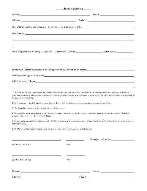 A Sample Barter Agreement Agreements Sample Resume