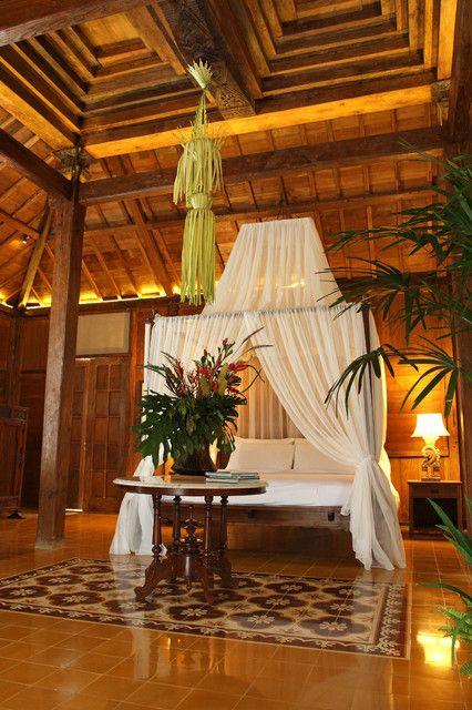 tropical house design with colonial style in bali bedroom design
