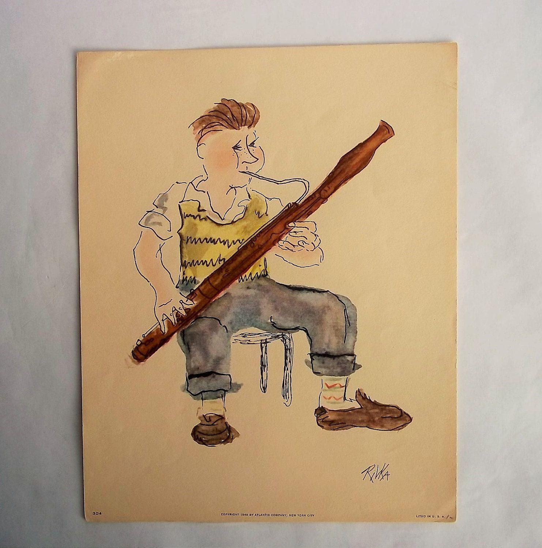 Music Student Bassoonist Rivka Boy Playing Bassoon 1949 Litho ...
