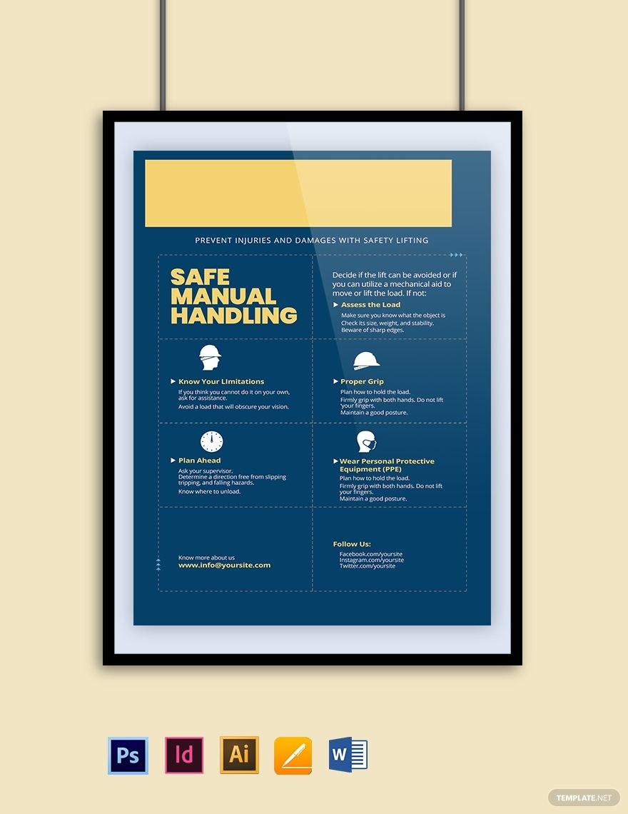 Safe Manual Handling Poster Template Free Jpg Illustrator Indesign Word Apple Pages Psd Pdf Template Net Poster Template Poster Template Free Poster Template Design Free poster templates for word