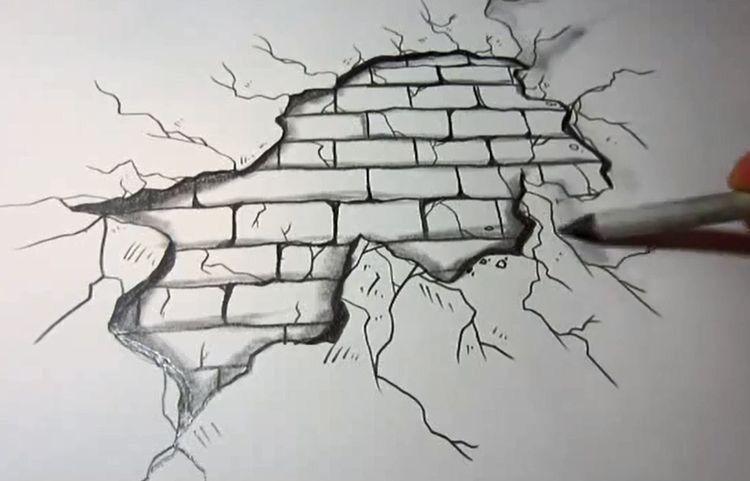 Brick wall through paper drawing in pen 3d bilder