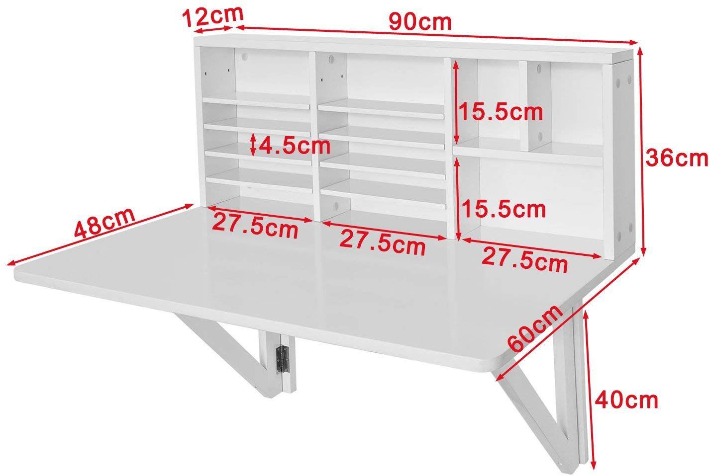 Sobuy Fwt07 W Fwt03 W Table Murale Rabattable Pliable En