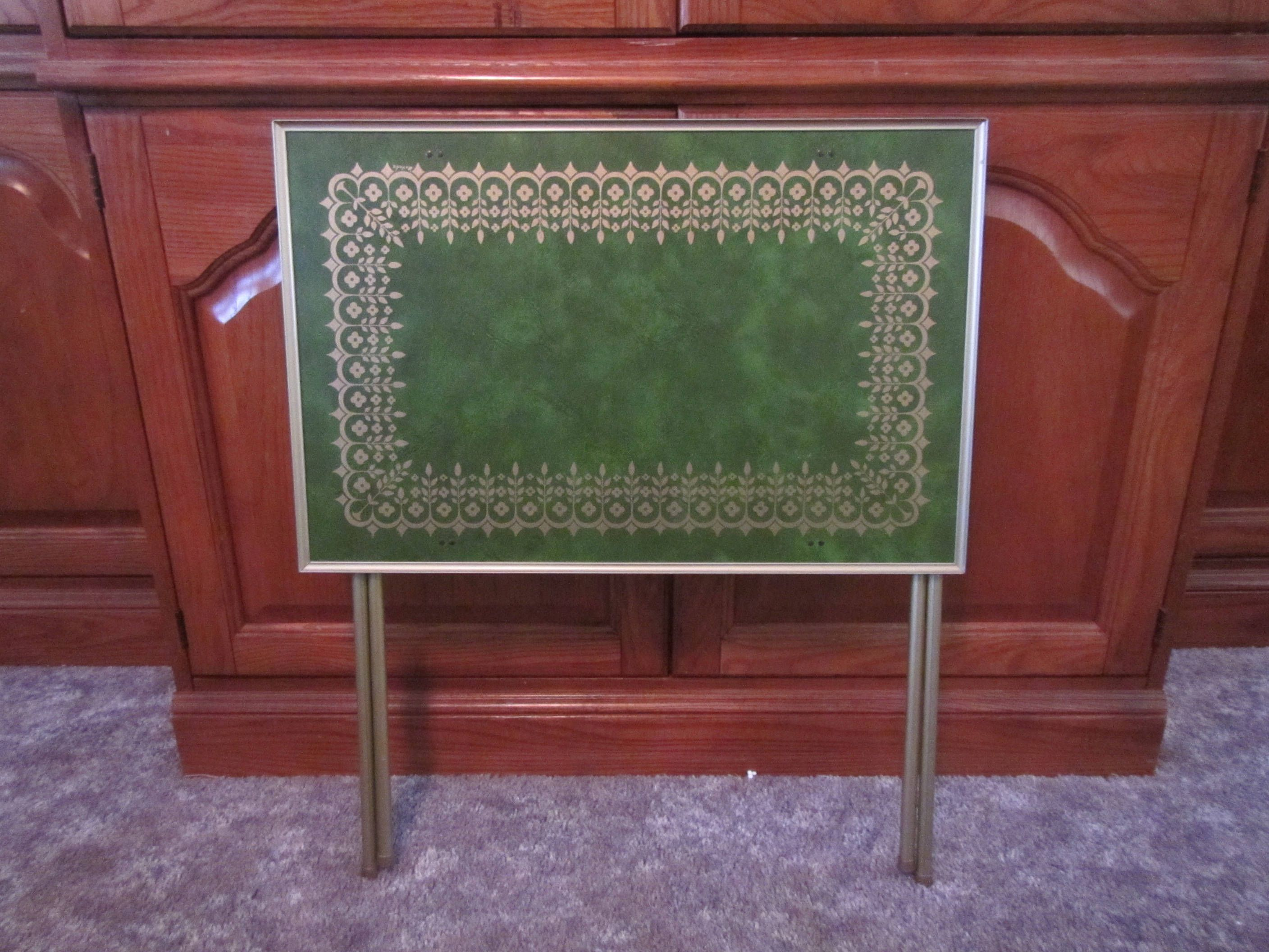 Vintage TV Tray * Folding Table Tray* Green With Gold Flower Design * TV  Table