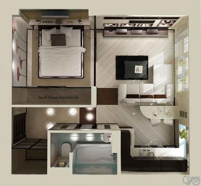 Planos de apartamentos pequeños de un dormitorio | Layouts, Tiny ...