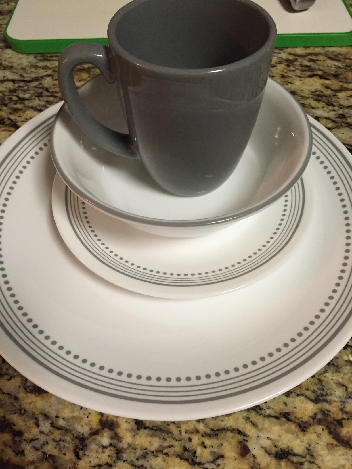 Amazon.com Corelle Livingware 16-Piece Dinnerware Set Mystic Gray Service & Amazon.com: Corelle Livingware 16-Piece Dinnerware Set Mystic Gray ...