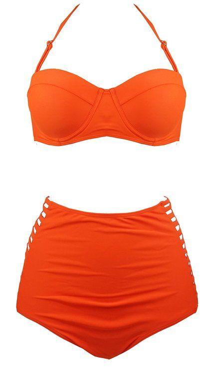 ac6b2afbee Cocoship Hollow Vintage High Waisted Bikini Engraving Swimsuits Swimwear  (FBA) at Amazon Women s Clothing