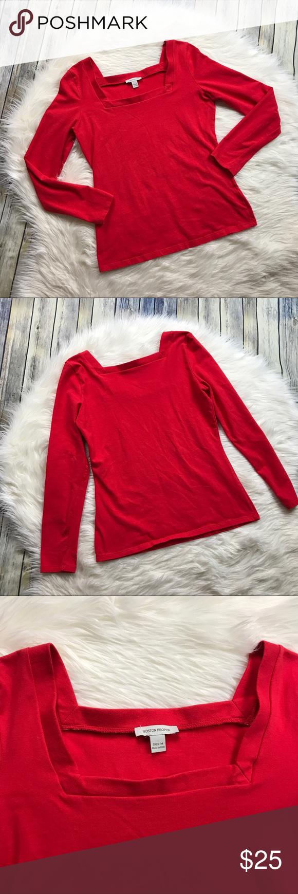 """Boston Proper Red Square Neckline Long Sleeve Tee Super cute red long sleeve tee with a square neckline. Stretchy fit. Gently used with no flaws! 92% cotton, 8% spandex.   Measurements laying flat (without stretching): --Armpit to armpit:18""""  --Length, shoulder to hem:24.5"""" Boston Proper Tops"""