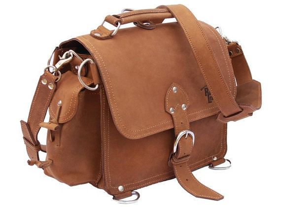 Leather satchel messenger bag.