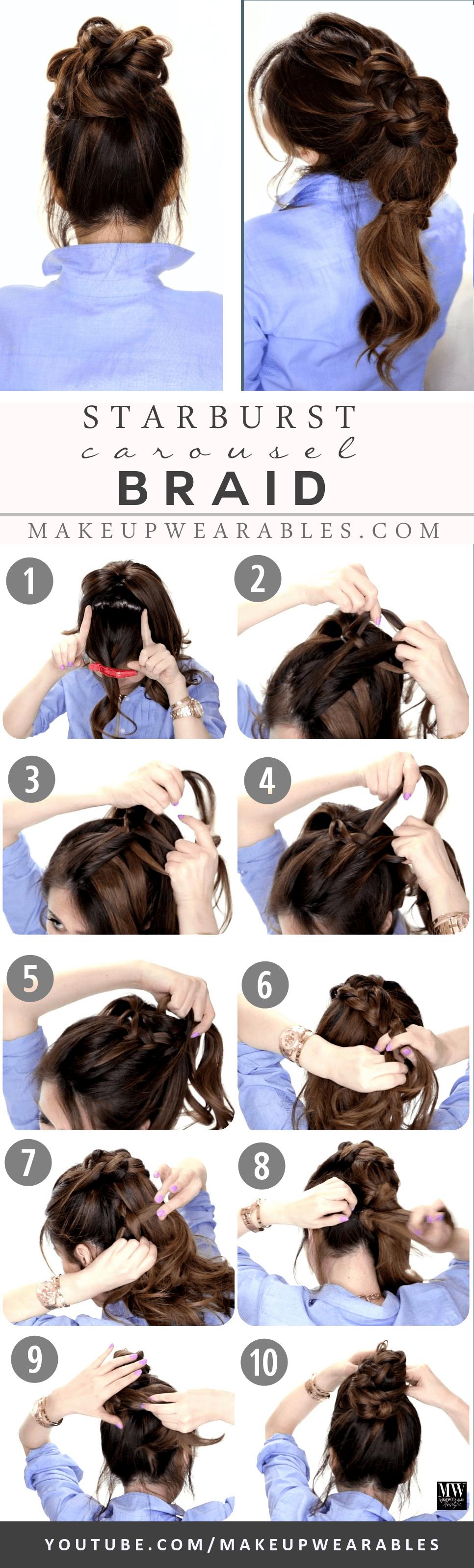Cute easy hairstyles for medium long hair braids messy bun