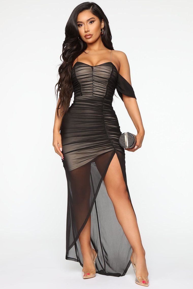 Feeling Ruched Mesh Maxi Dress in 2020