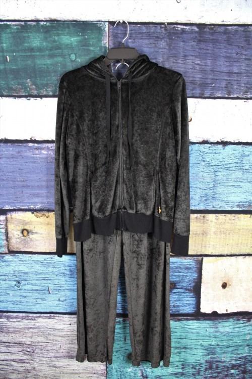 55.85$  Watch now - http://viqgg.justgood.pw/vig/item.php?t=yyawzcv13798 - DKNY Black Velour Tracksuit Hoodie Sweatpants Jogging Suit Sweatsuit MEDIUM M 55.85$