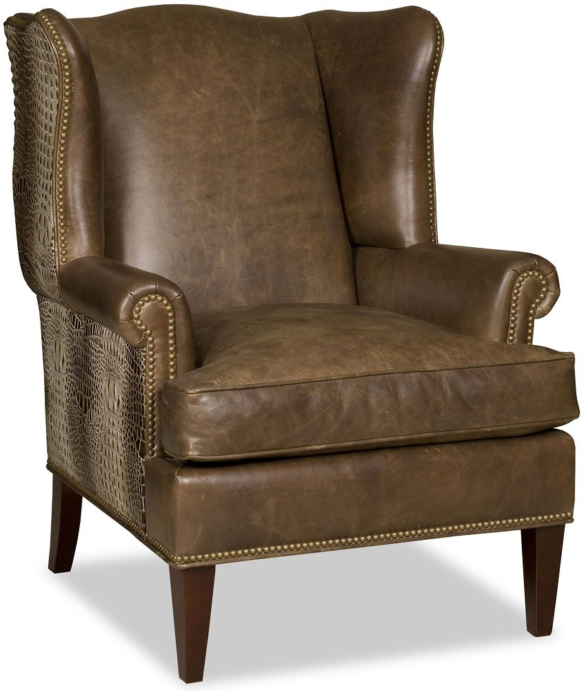 Captivating Handsome Quality Leather Wing Chairs With Decorative Crocodile  Accents.#fineleatherfurniture