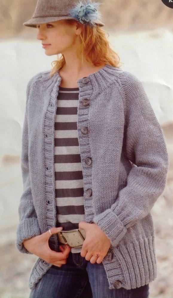 eab4821b5 Knitting Pattern Ladies Women Easy Knit Chunky Cardigan Jacket ...