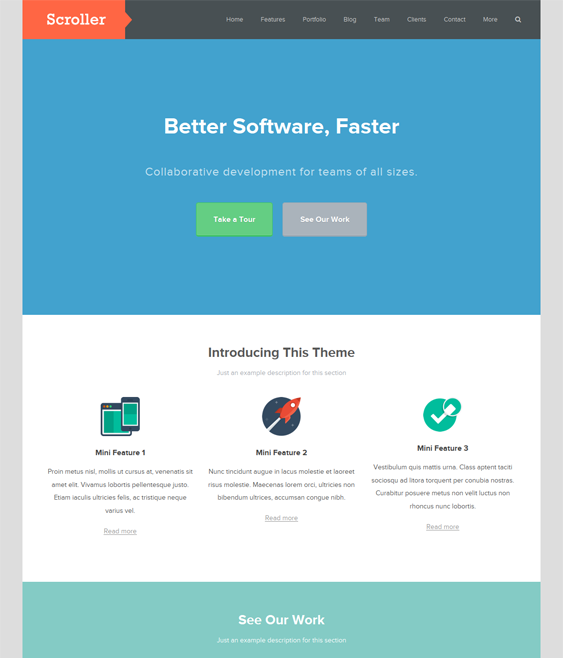 This single page WordPress theme has a flat design, easy color and ...