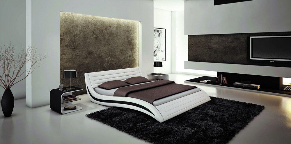 platform bed white   about BUGATTI - KING SIZE MODERN STYLE