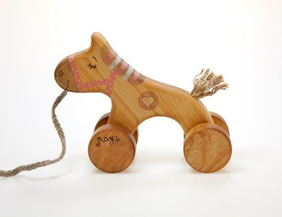 #looking #wooden  #qualit #wooden #horse #toys #year #pink #etsy #pull #toy #... #for #oldWooden Hor...