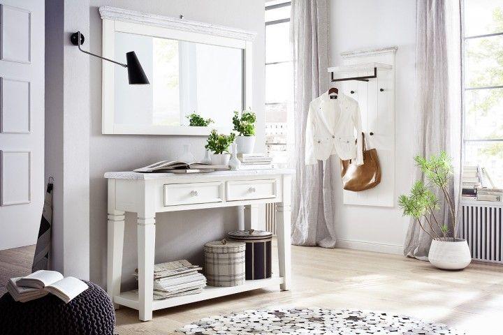 rustiklae wei e garderobenkombination elsa i 3 teilig wei m bel flur. Black Bedroom Furniture Sets. Home Design Ideas