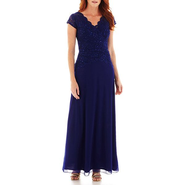 Blu Sage V-Neck Cap Sleeve Tiered Lace Bodice Gown found at  JCPenney  ff4eb5c95