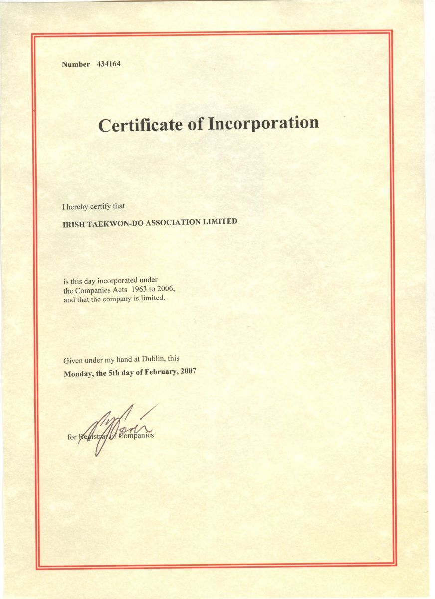 About Ita Irish Taekwon Association Certificate Incorporation