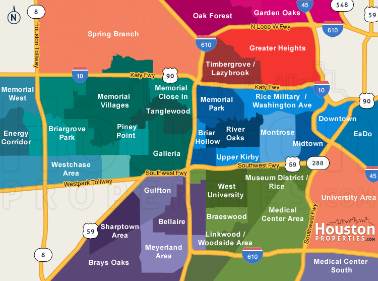 Map Of Neighborhoods In Houston Texas Great Maps Of Houston