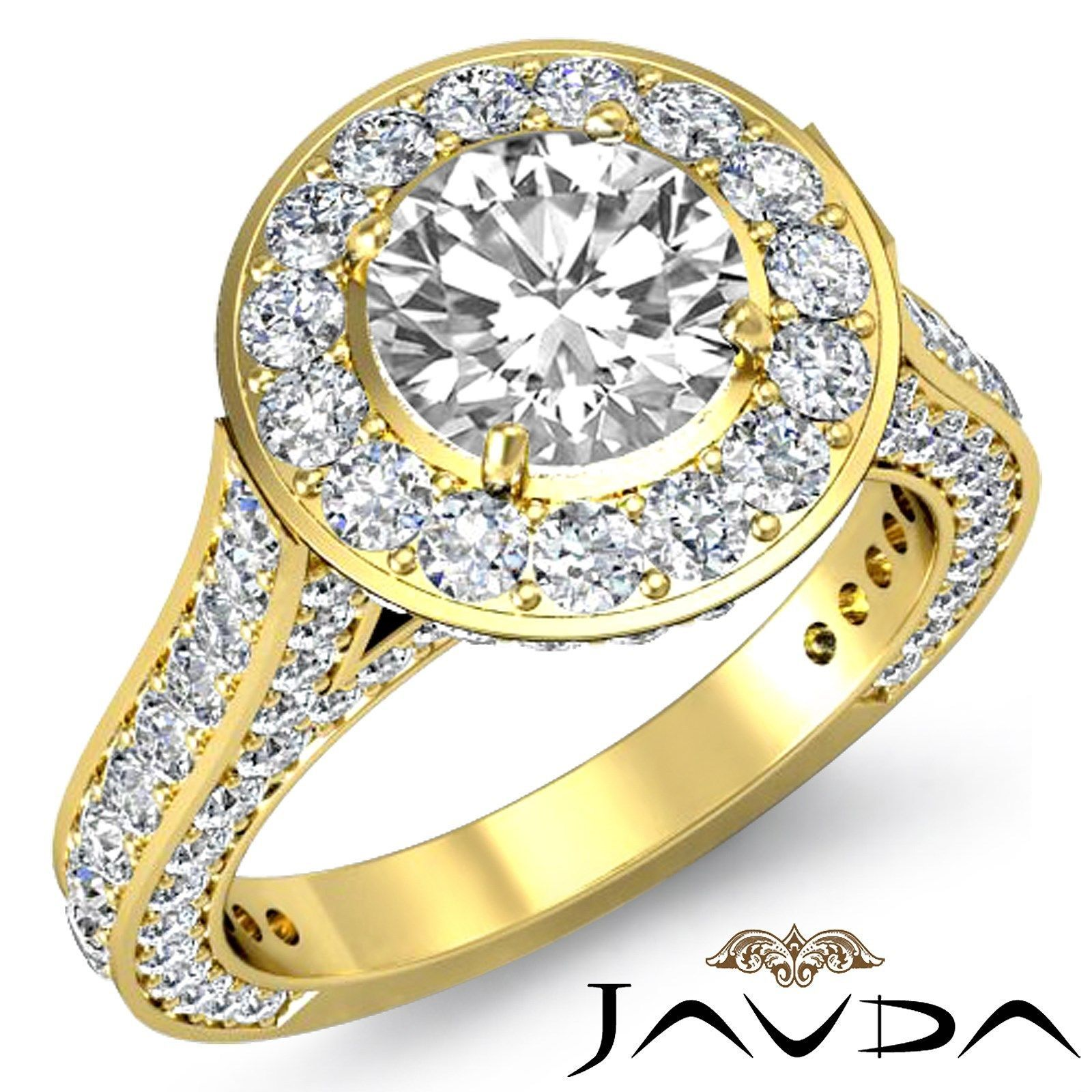 Round Diamond Engagement Facinating Halo Ring GIA I SI1 18K Yellow