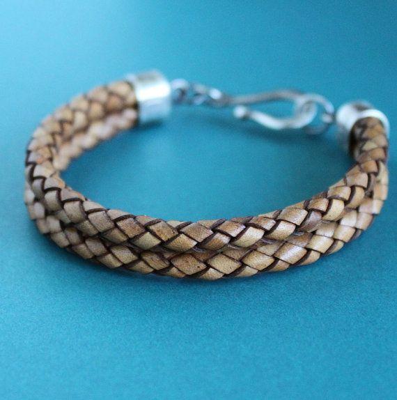 En cuir pour homme Bracelet Double tresse brun par LynnToddDesigns
