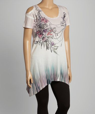 Loving this White Floral Cutout Tunic - Plus on #zulily! #zulilyfinds