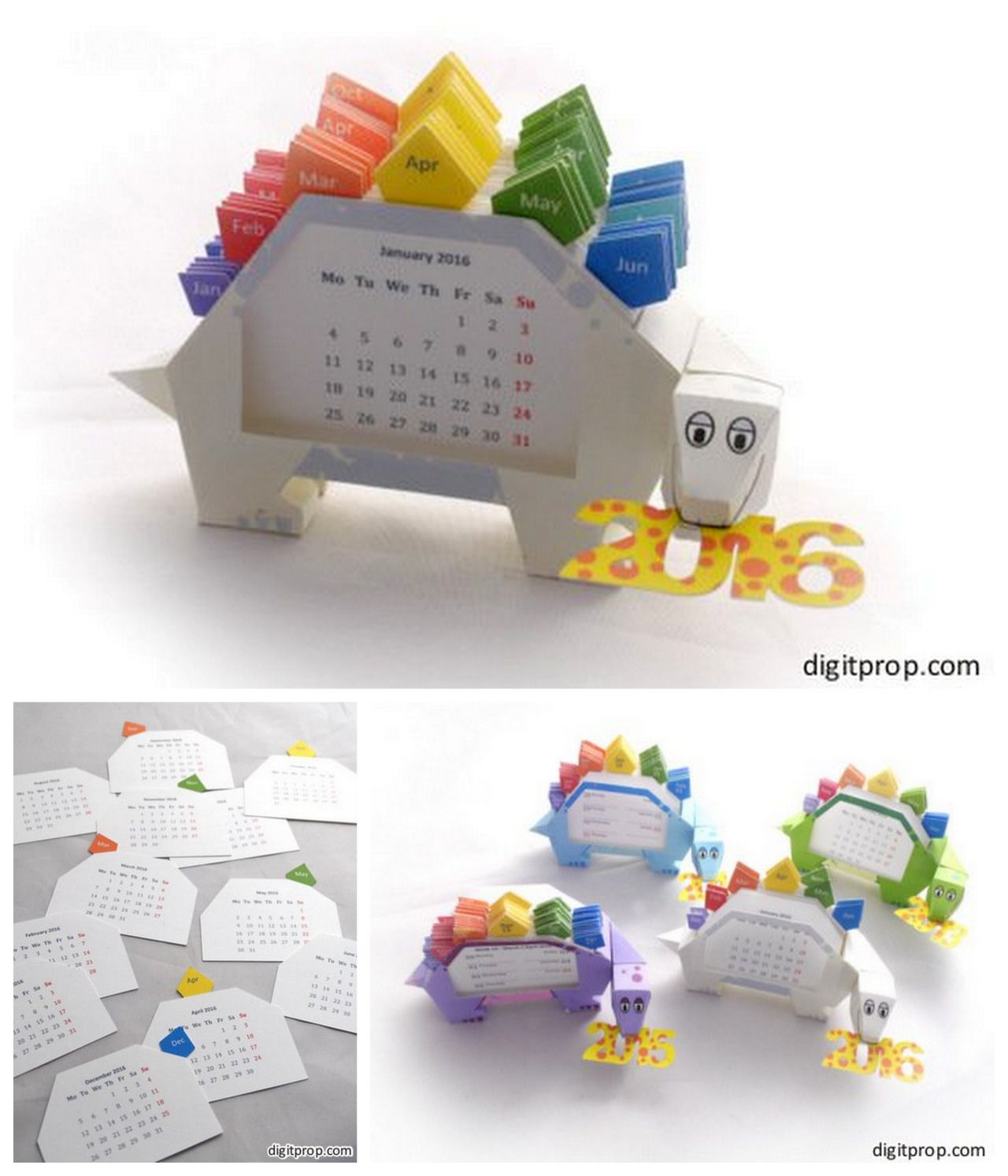 DIY 2016 3D Dinosaur Calendar Free Printable from Digitprop. Every year Digitprop comes out with a free printable stegosaurus calendar - and I post it on my blog. This year the 2016 3D Dinosaur...