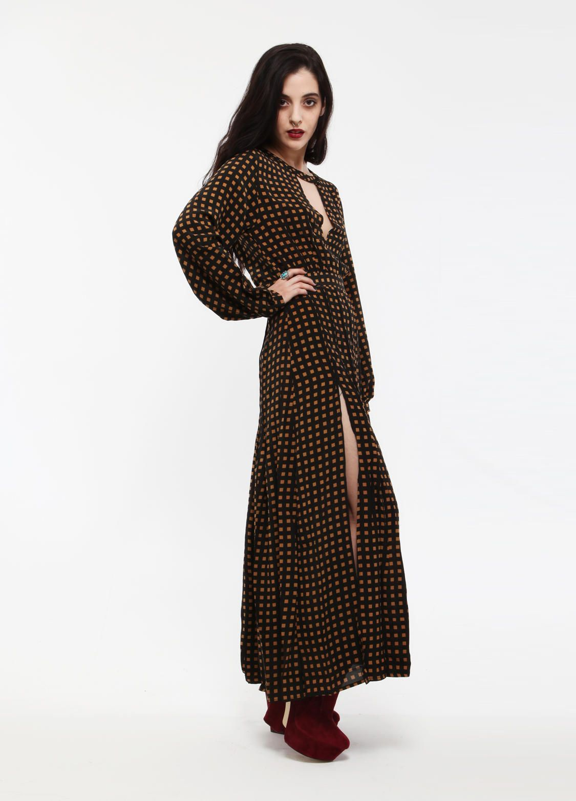 Flowing check pattern maxi dress by shakuhachi long bell sleeves