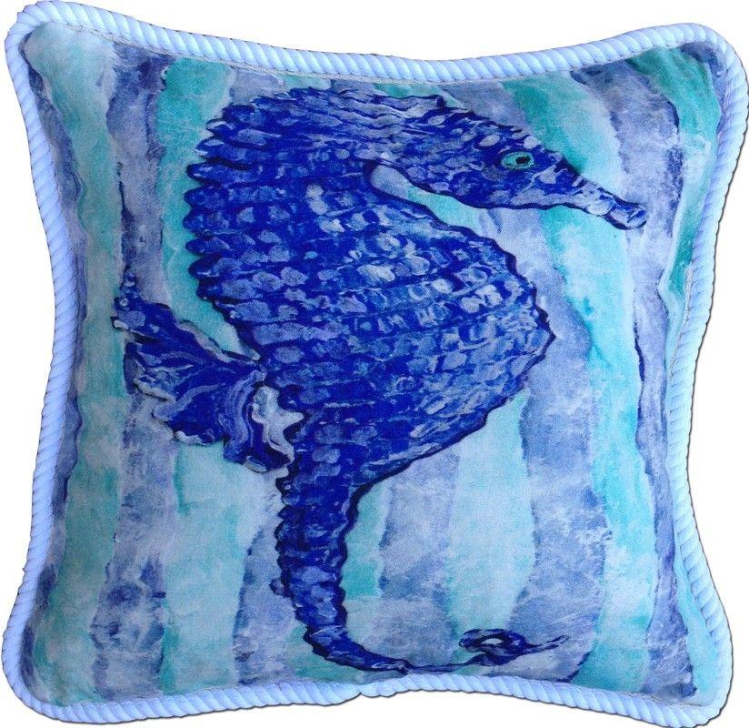 Blue and Aqua Seahorse Beach Cottage Pillow
