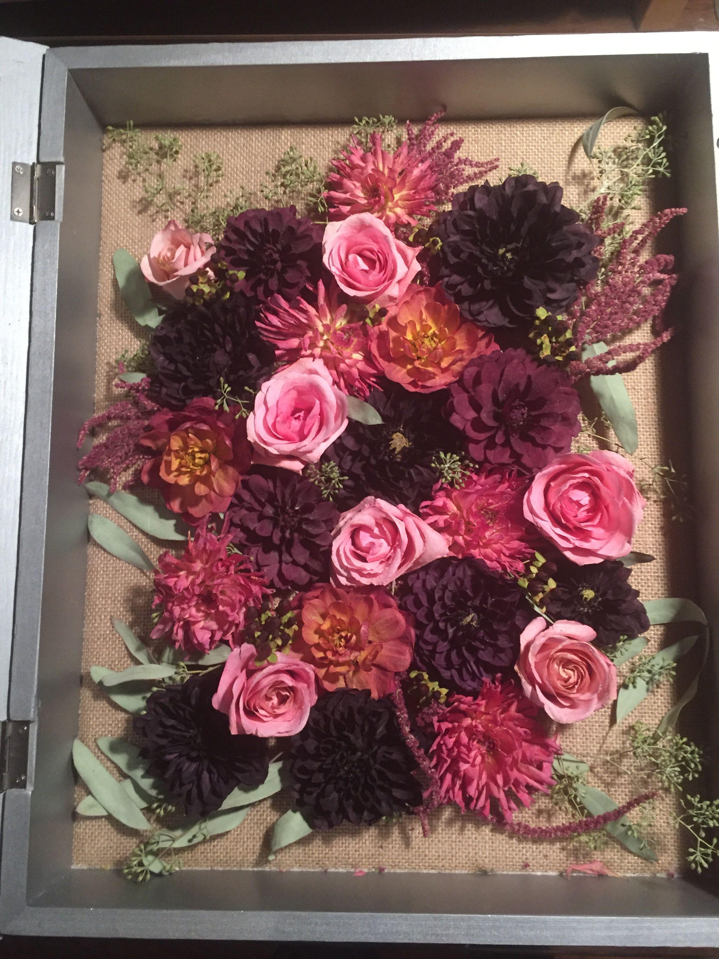 My diy dried wedding bouquet shadow box - Weddingbee ...