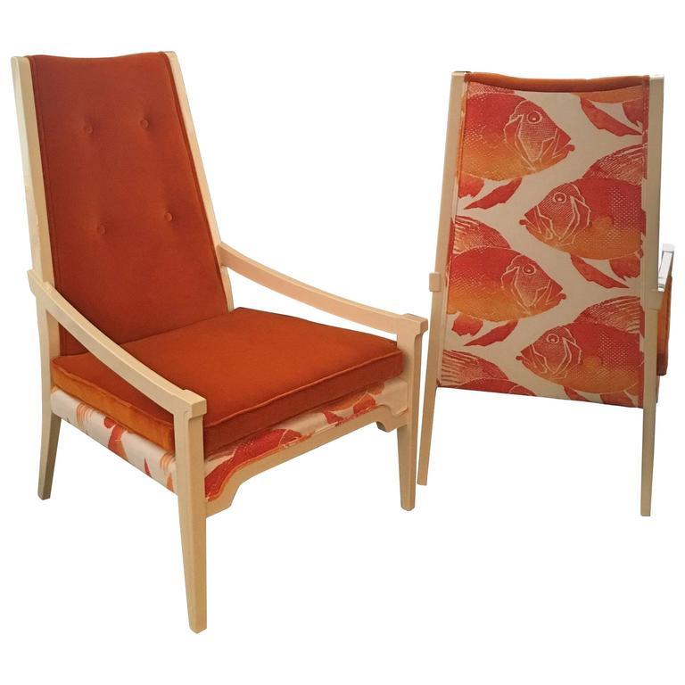 Pair of Orange Velvet Arm Lounge Chairs in the Manner of T.H. Robsjohn-Gibbings 1