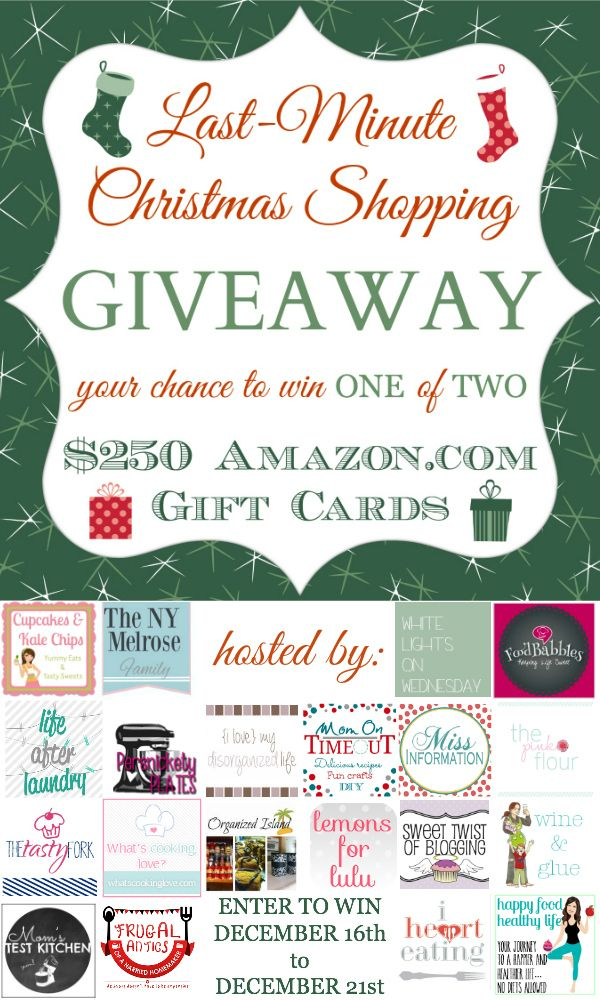 3ed08b7e1847 Last Minute Christmas Shopping Giveaway > win one of TWO $250 amazon.com  gift cards. Giveaway ends Dec 21st.