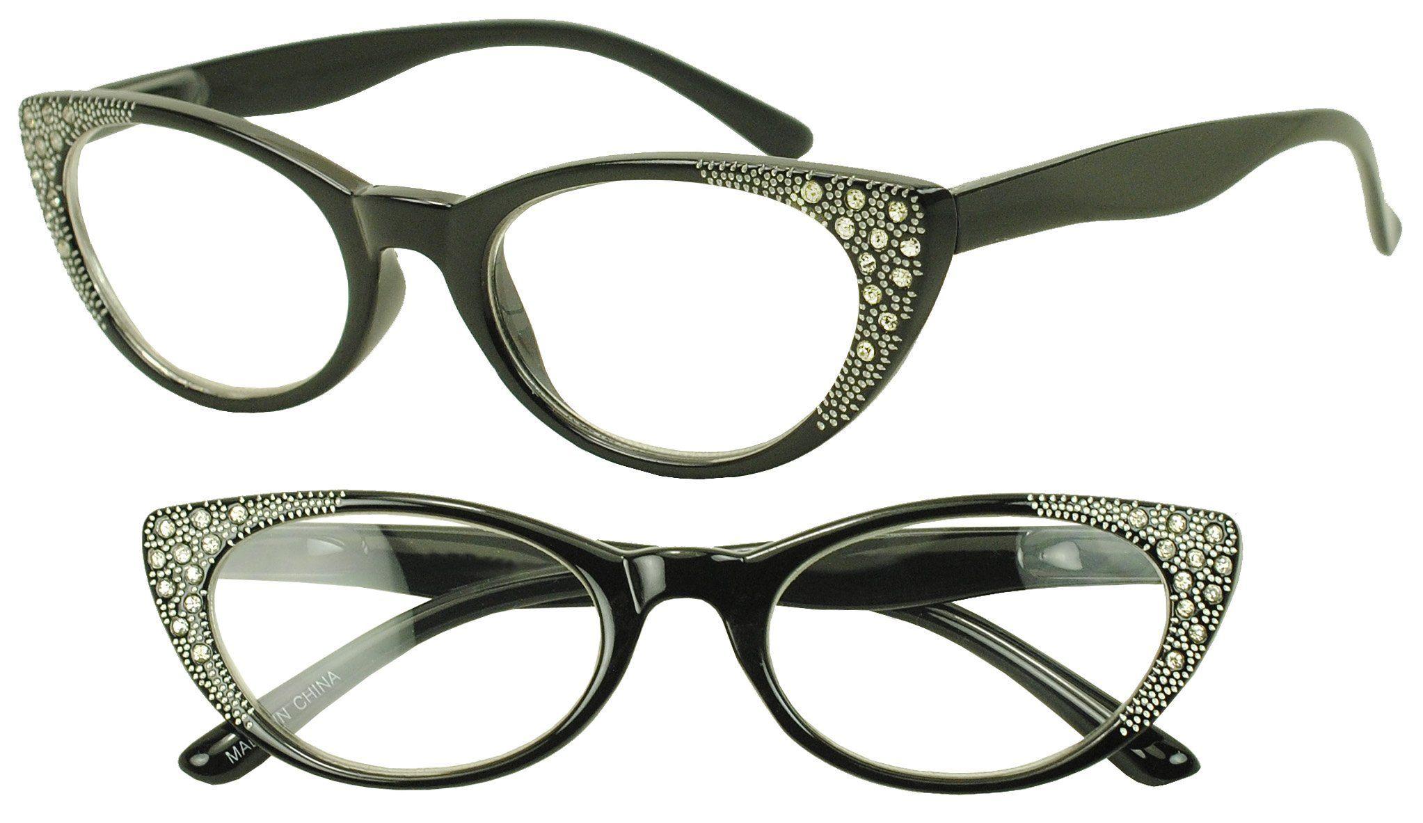 7fff2bb713 Round Pointed Cat Eye Rx +1.00 - +3.50 Prescription Eye Glasses with  Rhinestones (Black