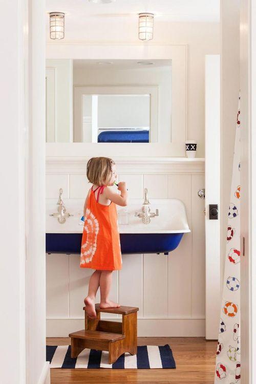 large cobalt blue trough sink in nautical beach bathroom Bath II