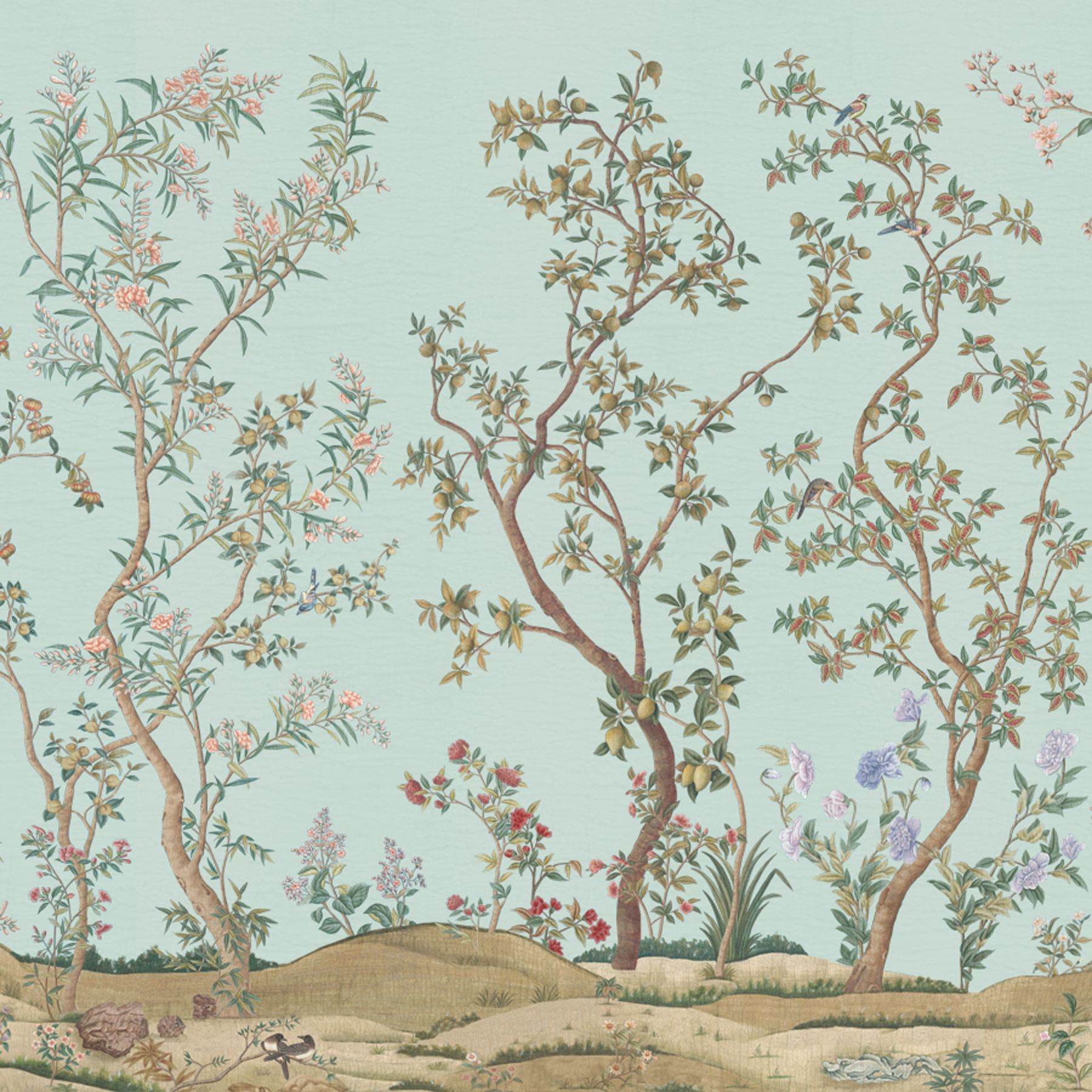 Imperial Garden | IK3104 in Celadon | Panel by Iksel for Schumacher | This charming pattern was inspired by an original East India Company Chinese wallpaper ...