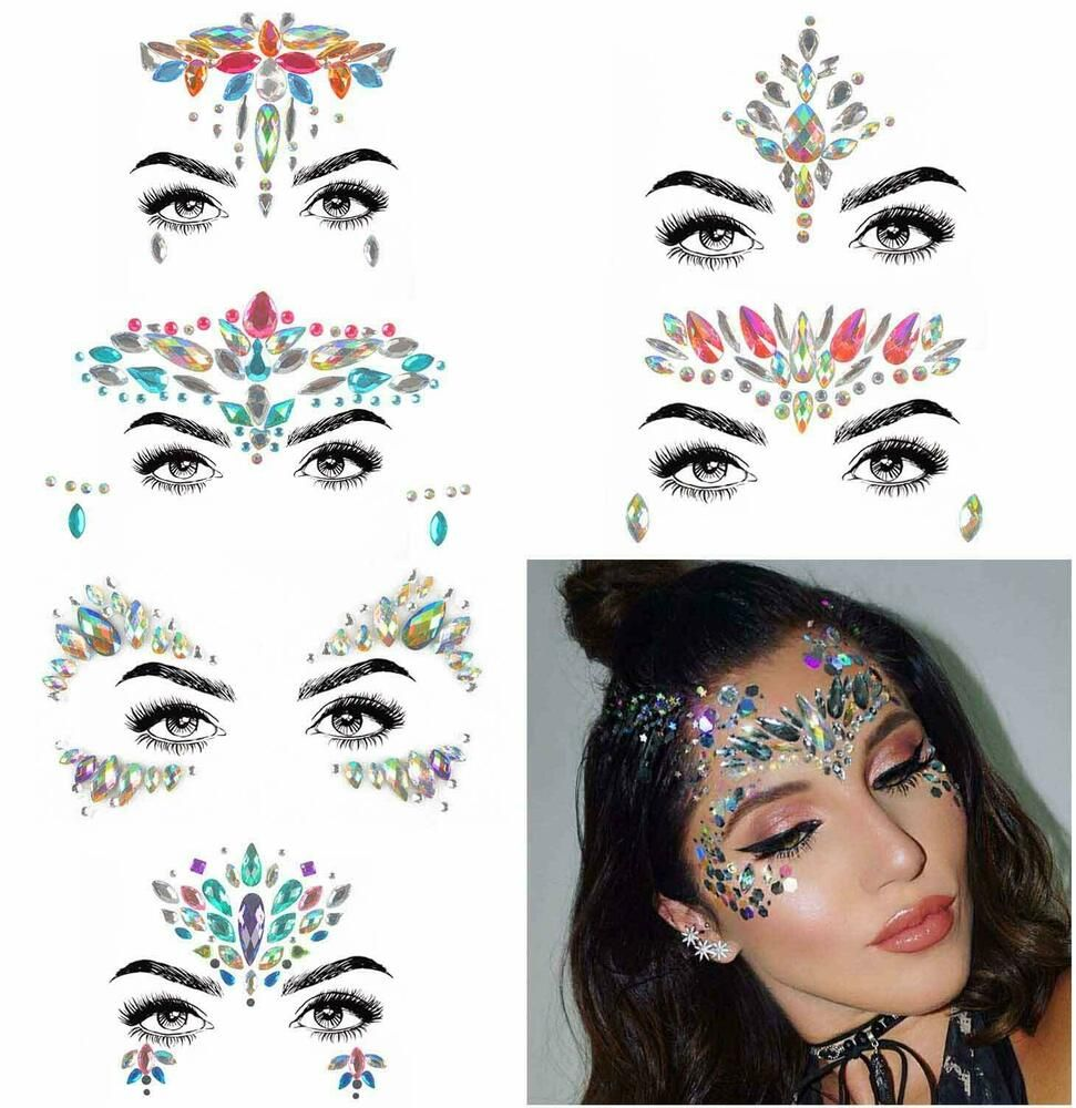 9f15053b260 Details about 6 coachella Sets Rhinestone Mermaid Face Jewels Tattoo ...