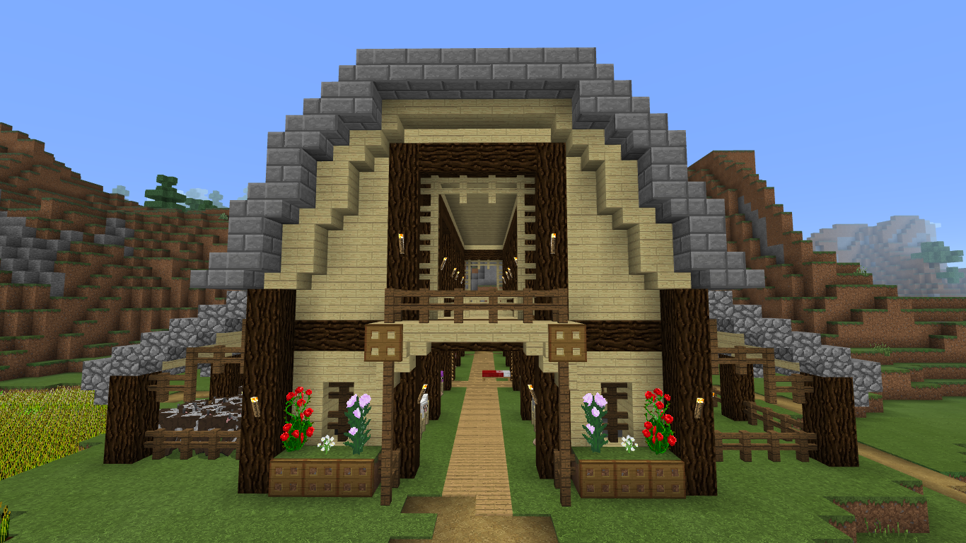 This Is A Medieval Barn I Made I M Not Sure If I Like The Flowers