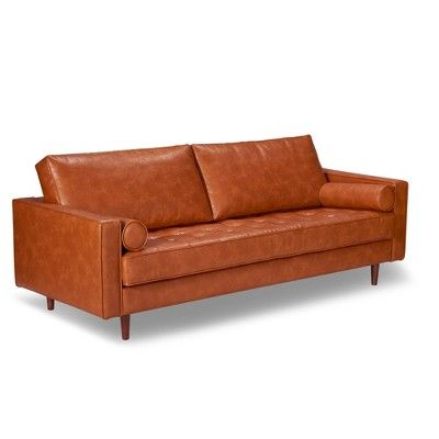 Peachy Zander Mid Century Modern Leather Sofa Black Aeon Gmtry Best Dining Table And Chair Ideas Images Gmtryco