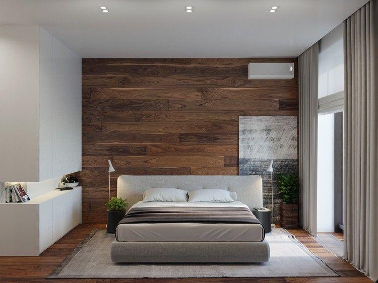Schlafzimmer Design Mit Dunklem Holz Bei Der Wandgestaltung