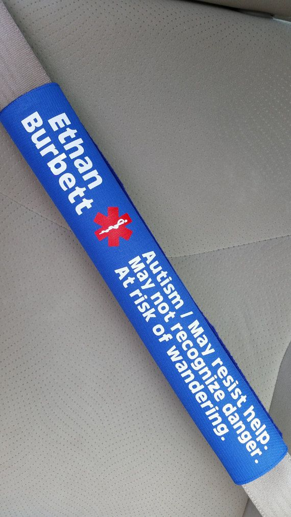 Custom Printed Medical Alert Seatbelt Cover Autism Seat